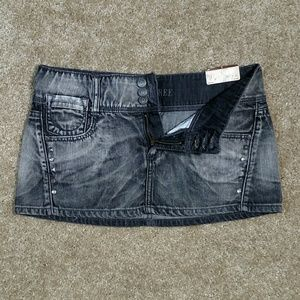 NWT Decree Black Denim Mini Skirt Size 5 Studded